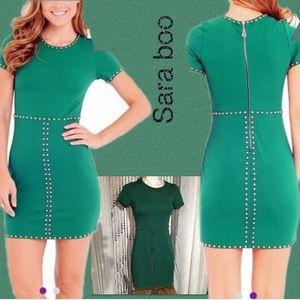 Sara Boo Green Linear dot bodycon dress